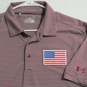 Sz L Striped Under Armour Men Poly #61Z Golf Polo